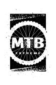 MTB extreme on the background of the wheel. Banner, t-shirt print design.