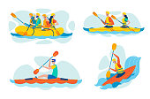 Extreme, Dangerous Water Sports, Active Recreation Flat Vector Concepts Set Isolated on White Background. Group of People River Rafting on Inflatable Boat, Kayaking, Canoeing and Paddling Illustration