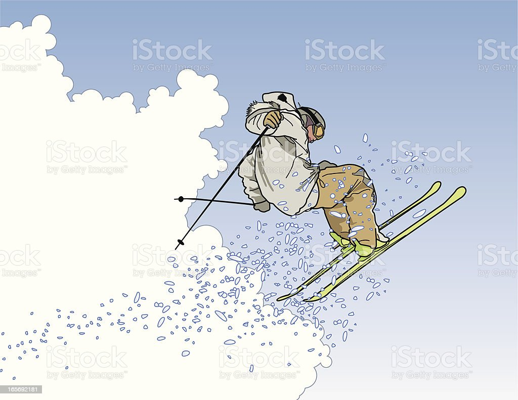 Extreme Skier in the Clouds royalty-free stock vector art