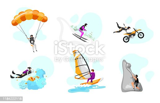 Extreme sport flat vector illustrations set. Parachuting, hang gliding. Surfing, scuba diving. Downhill skiing. Rock climbing. Motorcycle stunts. Outdoor activity isolated cartoon characters