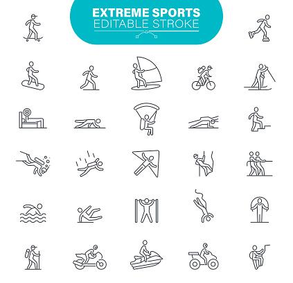 Extreme Sport Icons Editable Stroke