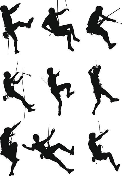 extreme sport rock climbing - rock climbing stock illustrations, clip art, cartoons, & icons