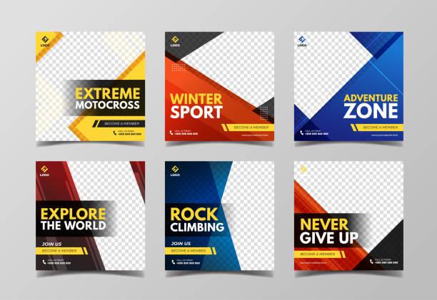illustrazioni stock, clip art, cartoni animati e icone di tendenza di extreme sport social media banner template collection - negozio sci