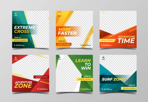 Extreme sport square banner template. Promotional banner for social media post, web banner and flyer Modern sport banner template adventure designs stock illustrations