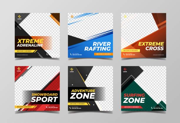 extreme sport quadratische banner vorlage. werbebanner für social-media-post, flyer und web-banner - sport stock-grafiken, -clipart, -cartoons und -symbole