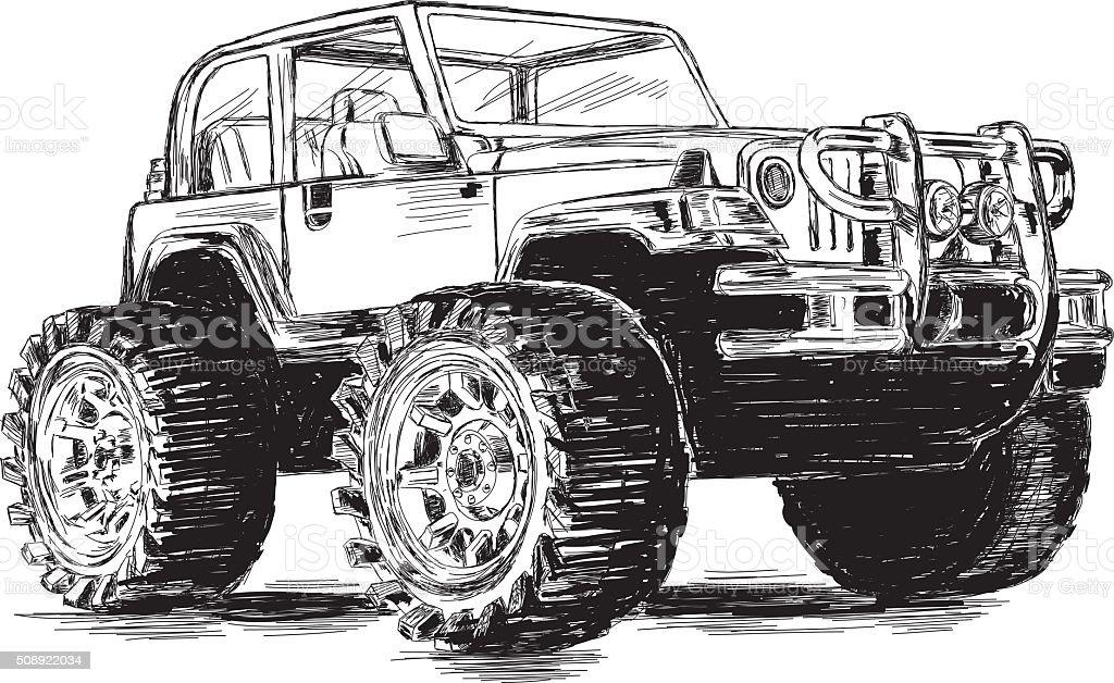 Extreme Sports - 4x4 Sports Utility Vehicle SUV Vector Illustration vector art illustration