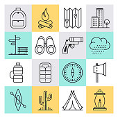 Extreme sports conditions outline style concept with symbols. Line vector icon sets for infographics and web designs.