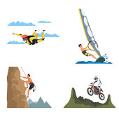 Extreme sports flat vector illustrations