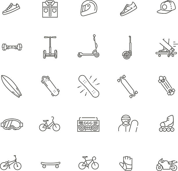 extreme sports icon set - motorroller stock-grafiken, -clipart, -cartoons und -symbole