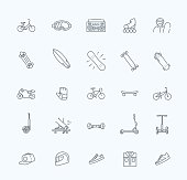 vector extreme sports outline thin icon set
