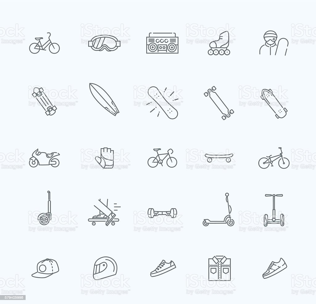 extreme sports icon set vector art illustration