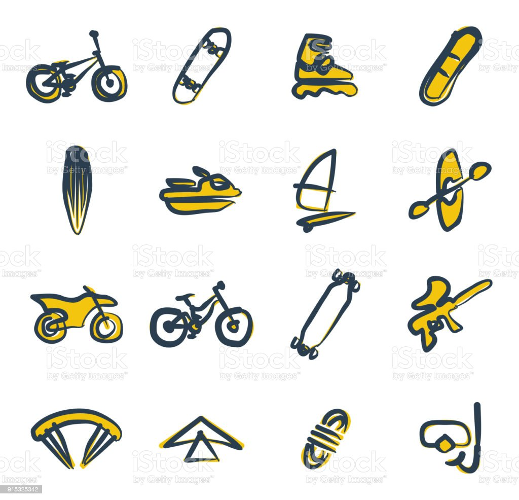 Extreme Sports Icons Freehand 2 Color vector art illustration