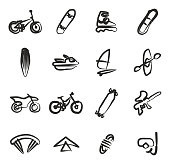 Extreme Sports Icons Freehand