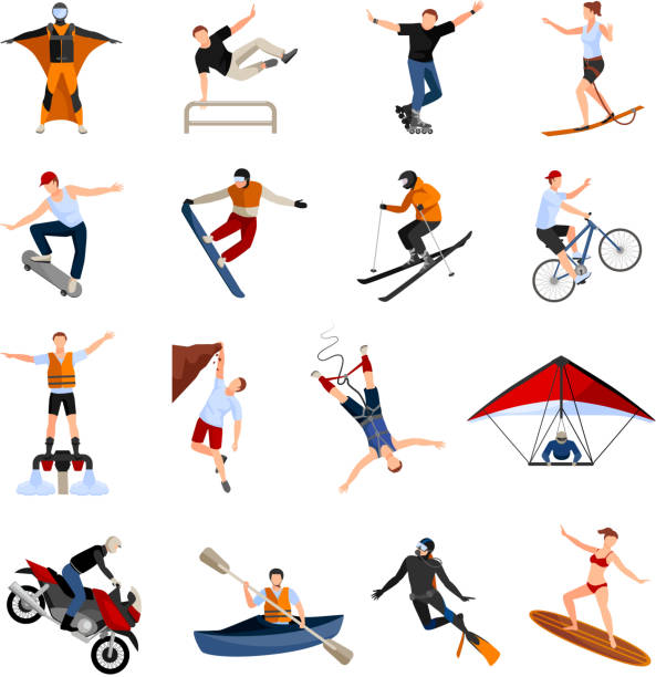 bildbanksillustrationer, clip art samt tecknat material och ikoner med extrema sportmänniskor platt - parkour