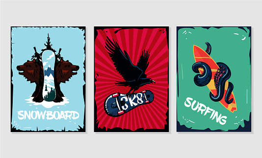 Extreme sports posters collection. Snowboard, skateboard and surfing. Grunge style.