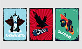 Snowboard, skateboard and surfing. Extreme sports posters collection. Grunge style