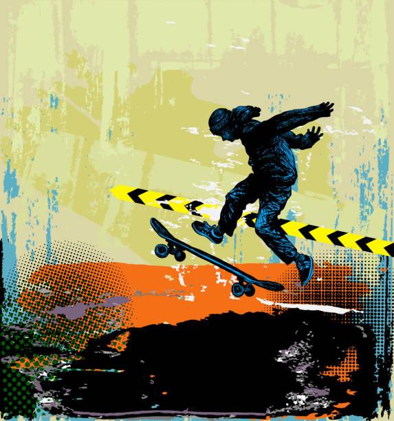 Extreme sports skateboarding background Extreme sports skateboarding sportsman jumping skate stock illustrations