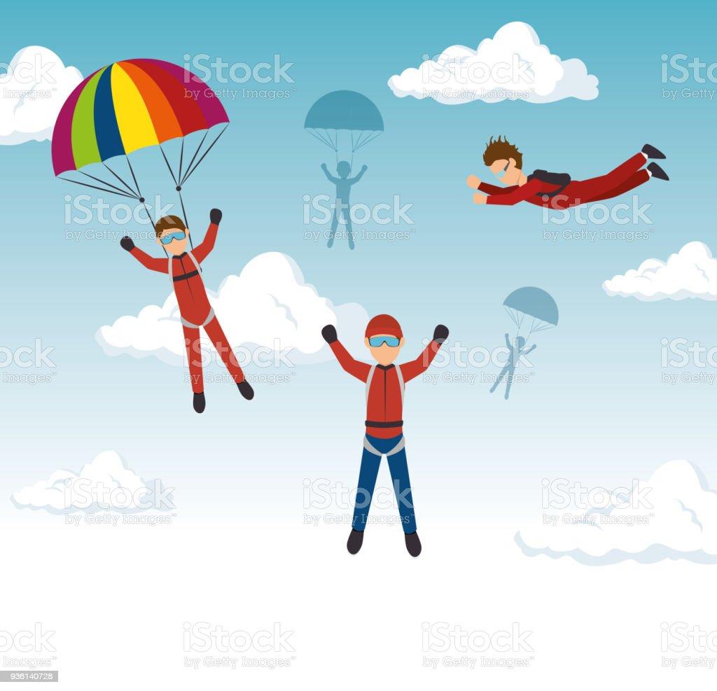Ilustración de Deportes Extremos Paracaidismo Diseño Aislado y más ...