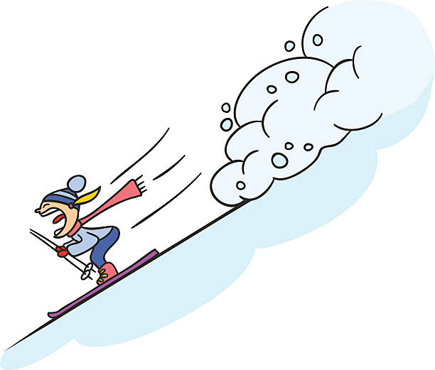 Extreme Sports Skier rescued from avalanche, Doodle illustration avalanche stock illustrations