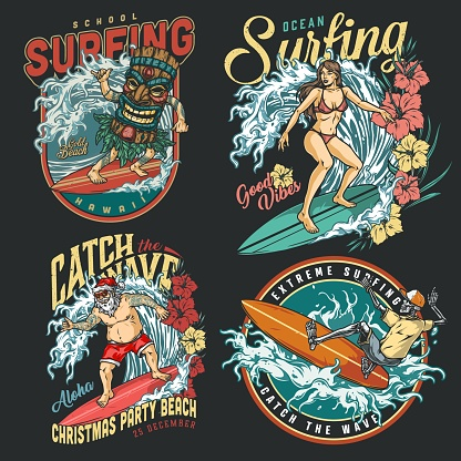 Extreme surfing vintage colorful labels