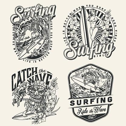Extreme surfing vintage designs