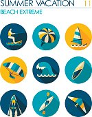 Extreme Water Sport icon set. Summer. Vacation