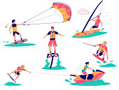 Extreme water sports male characters, vector flat illustration isolated on white background. Kiteboarding, wakeboarding, windsurfing and flyboarding beach water activities, sport and recreation.