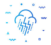 Extreme weather outline style icon design with decorations and gradient color. Line vector icon illustration for modern infographics, mobile designs and web banners.