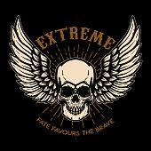 Extreme. Winged skull on black background. Design element for label, emblem, sign, poster. Vector illustration