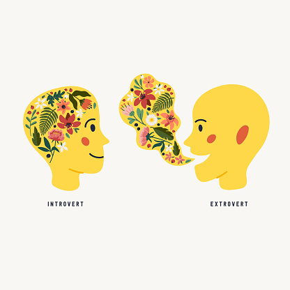 Extrovert and introvert. Extraversion and introversion concept - silhouettes of two human heads with an abstract image of emotions inside and outside. Vector illustration in flat cartoon style on white background