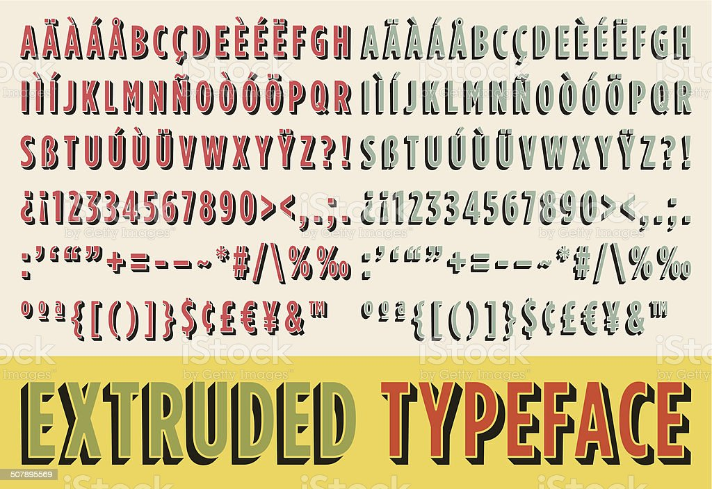 Extruded typeface vector art illustration