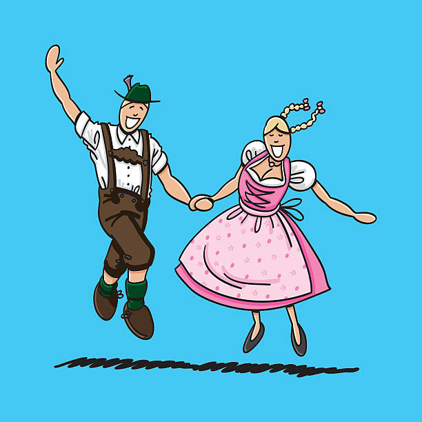 Exuberant Oktoberfest Couple Dancing Vector illustration of a bavarian couple in Dirndl and Lederhosen. They are dancing at the Oktoberfest. The line art, color and background are on separate layers, so you also can use the illustration on your own background. The colors in the .eps-file are ready for print (CMYK). Included files: EPS (v8) and Hi-Res JPG. oktoberfest stock illustrations