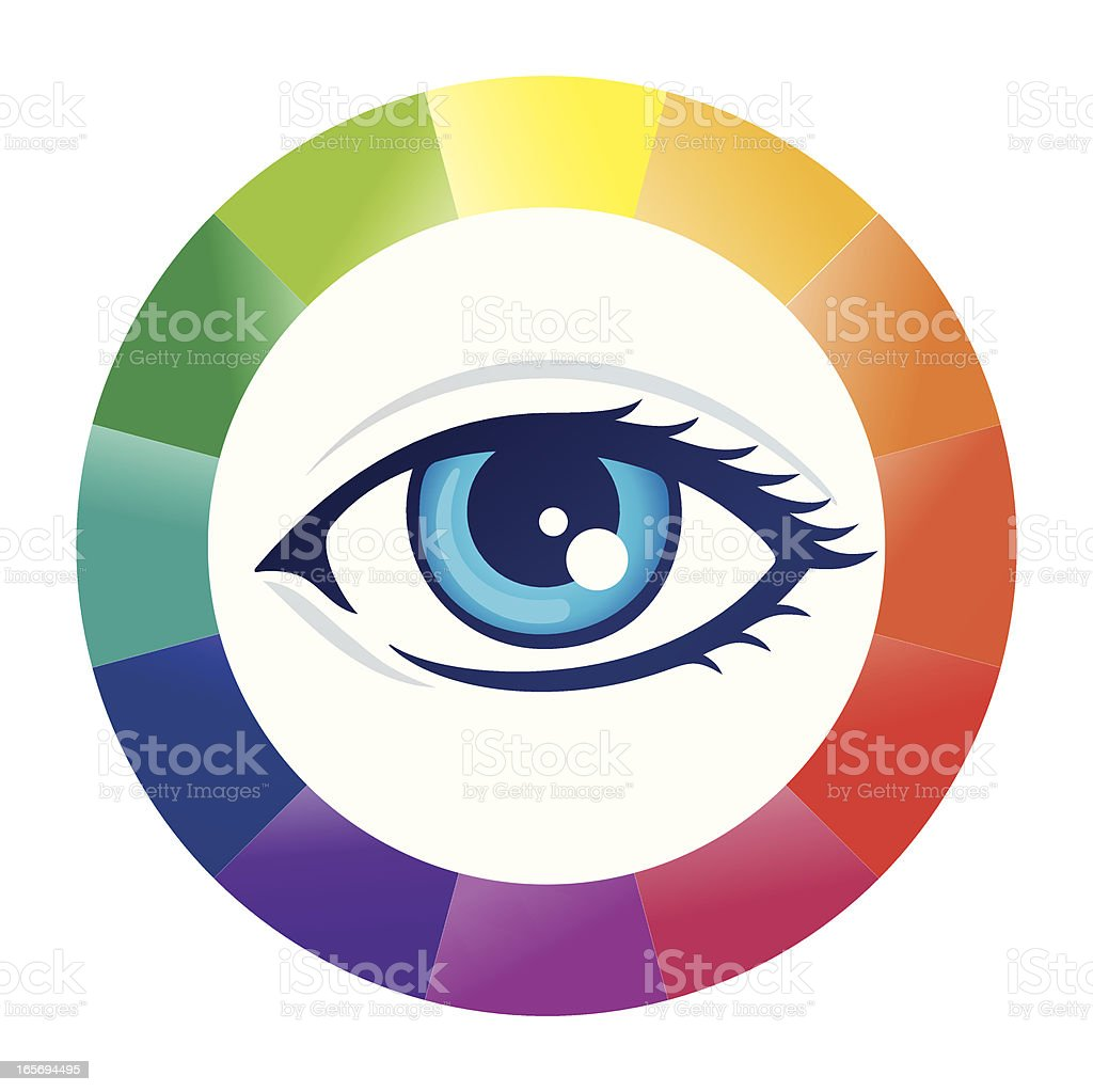 Eye And Color Wheel Stock Vector Art More Images Of Blue 165694495