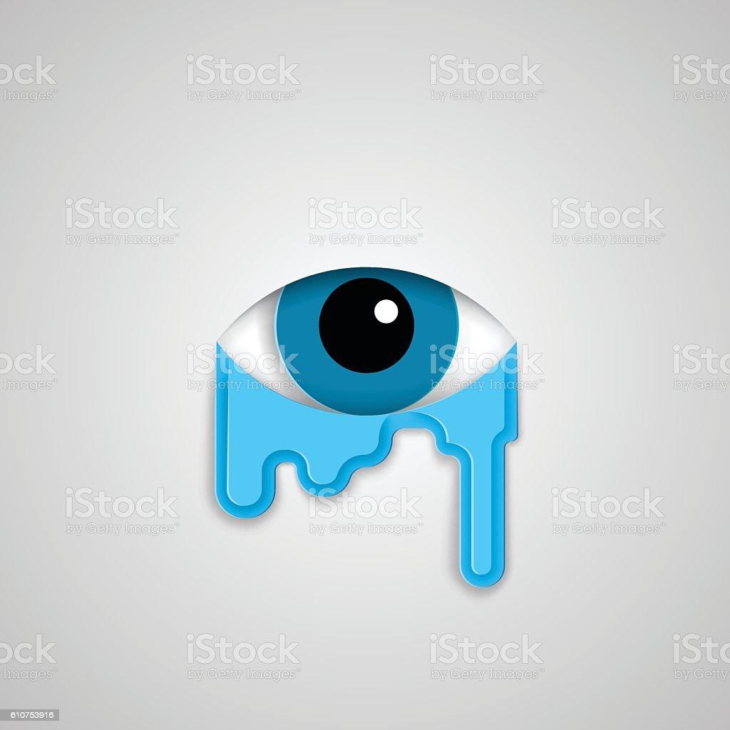 Eye And Tears Flat Style Minimalistic Illustration Stock Vector Art ...