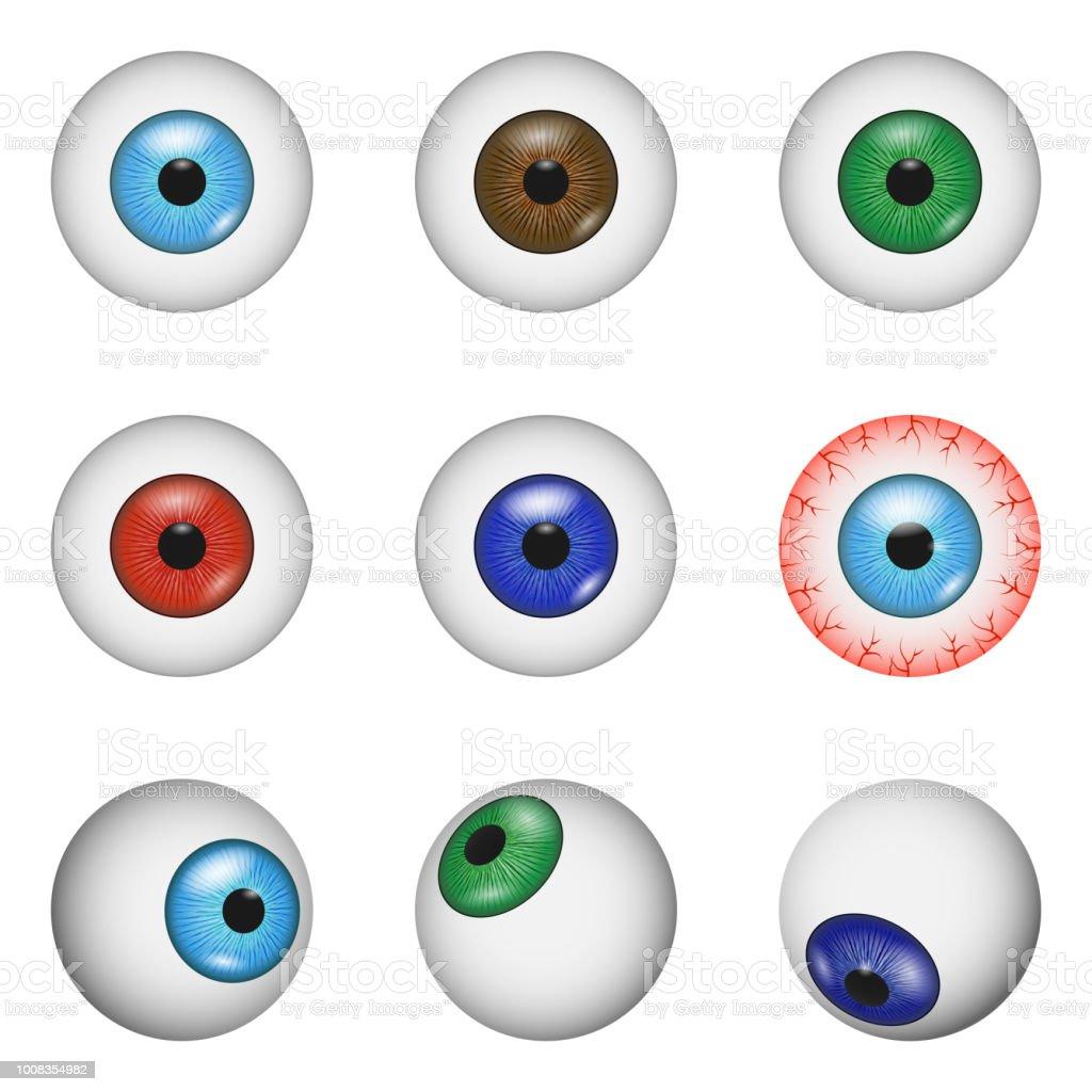 Eye Ball Anatomy Mockup Set Realistic Style Stock Vector Art & More ...