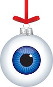 Vector illustration of a shiny glass aye ball christmas ornament hanging from a red ribbon.