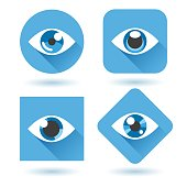 Eye blue flat icons. Human eyes with shadow vector icon set