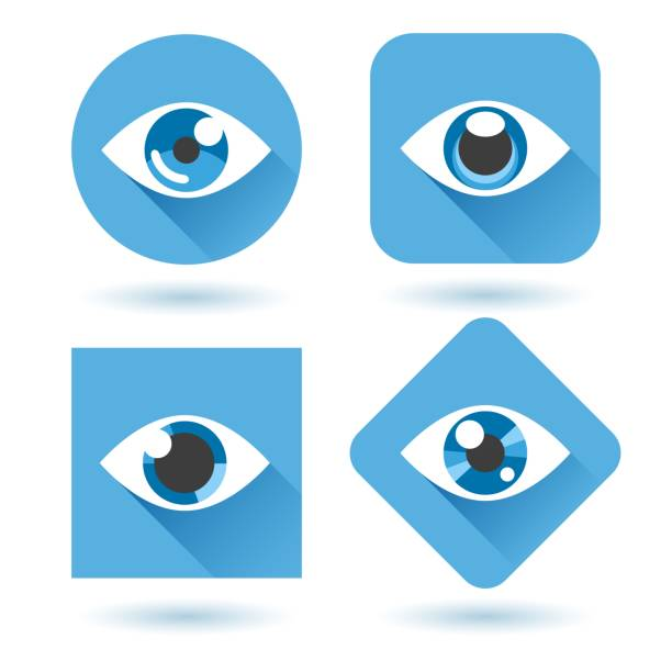 eye blue flat icons set - глаз stock illustrations