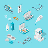Eye care and health, vector 3d isometric icons set. Contact lenses, glasses, ophthalmology equipment illustration.