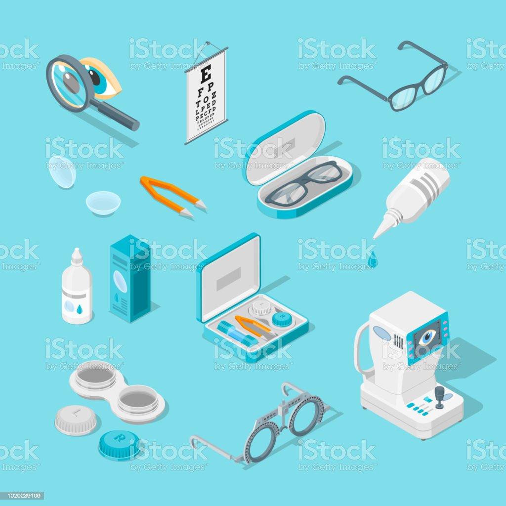 Augenpflege und Gesundheit, Vektor 3d isometrische Icons Set. Kontakt Linsen, Brillen, Ophthalmologie Geräte Illustration. – Vektorgrafik