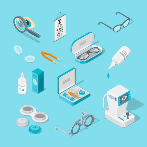 eye care and health, vector 3d isometric icons set. contact lenses, glasses, ophthalmology equipment illustration. - optometrist stock illustrations, clip art, cartoons, & icons