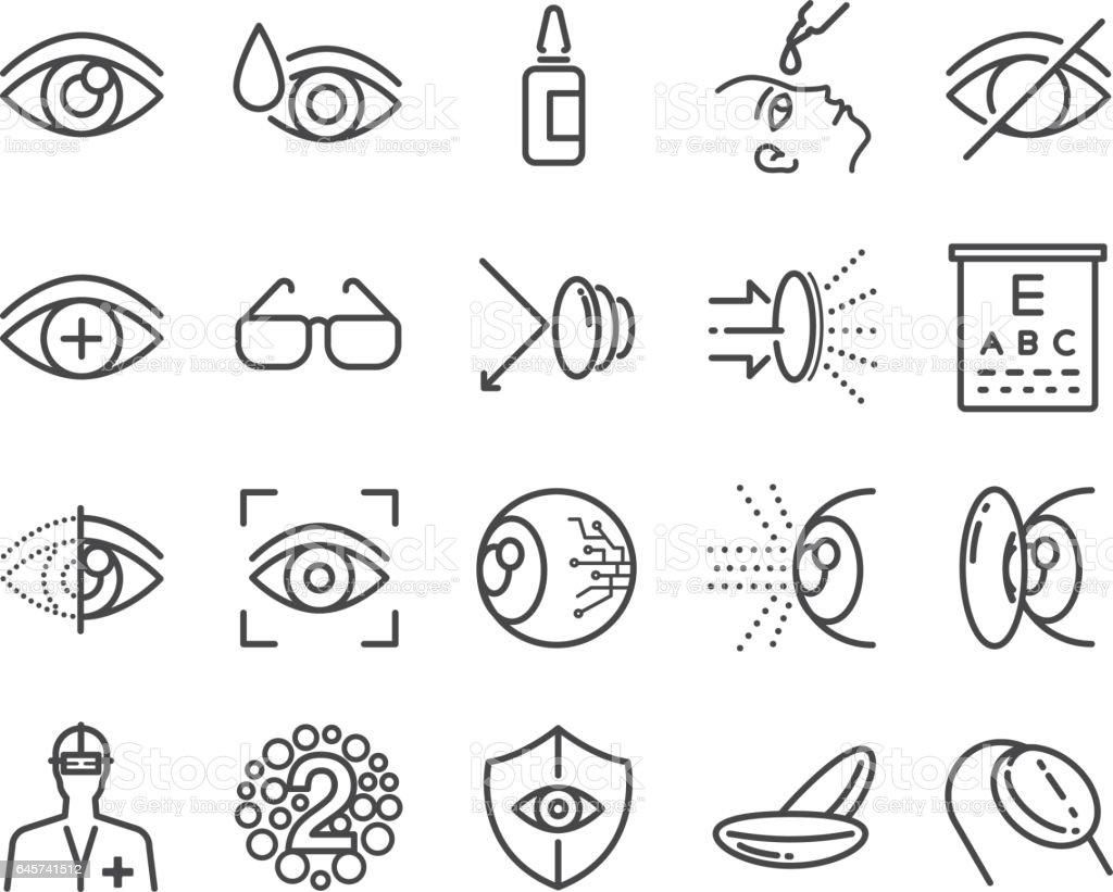 Eye care and optical icons set vector art illustration