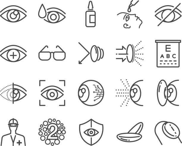 eye care and optical icons set - optometrist stock illustrations, clip art, cartoons, & icons