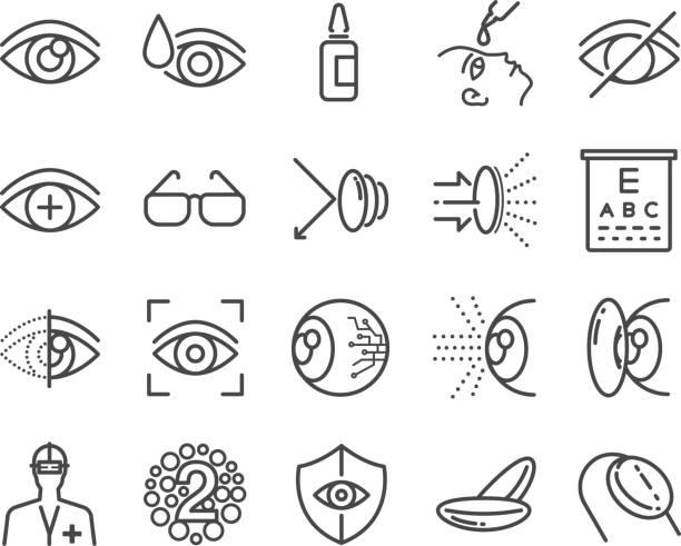 ilustraciones, imágenes clip art, dibujos animados e iconos de stock de cuidado del ojo y sistema óptico de los iconos - optometrista