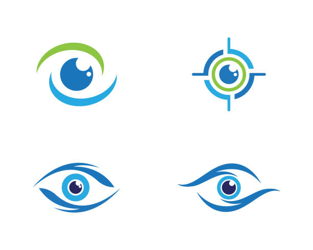 eye care vector logo design - глаз stock illustrations