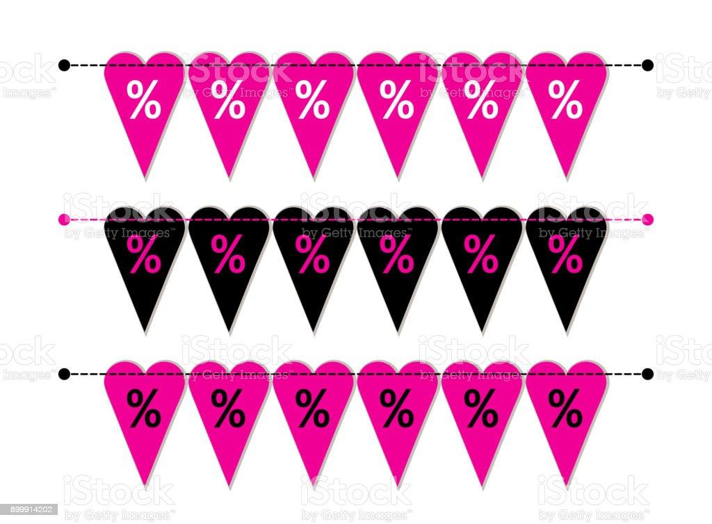 Auge Fangen Satz Von Herzen Geformt Valentines Day Sale Wimpel ...