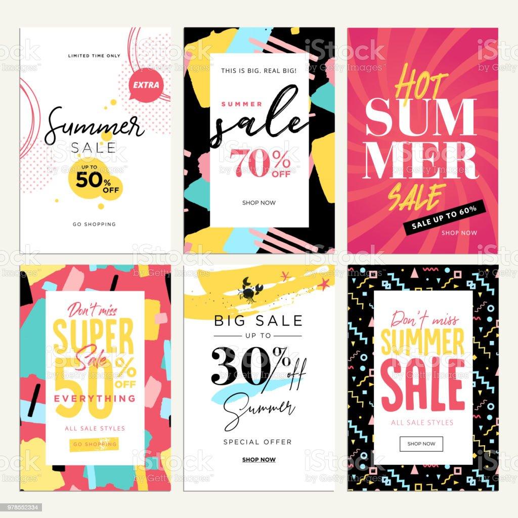 Auffällige Verkauf mobile Banner, anzeigen und Plakaten Sommerkollektion – Vektorgrafik