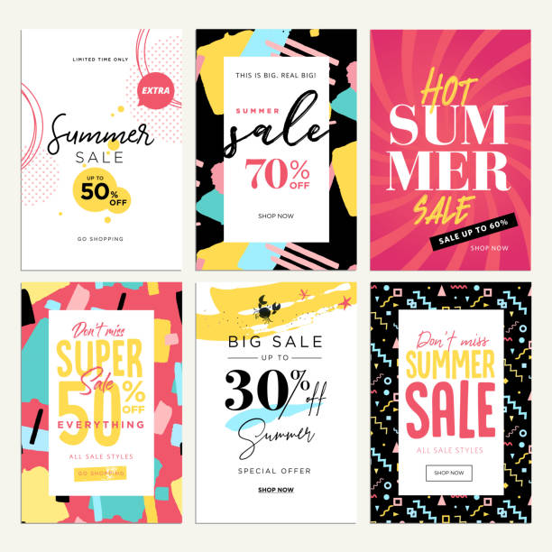 eye catching summer sale mobile banners, ads and posters collection - summer background stock illustrations