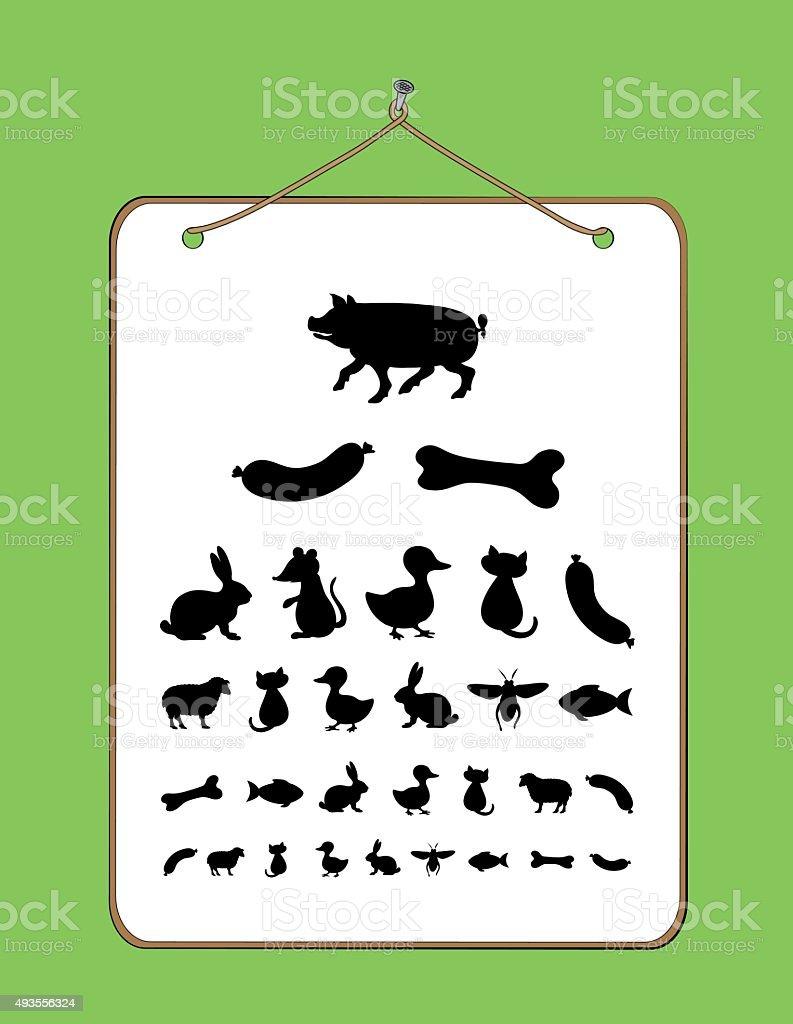 Eye chart for Children and Animals vector art illustration