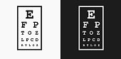 Eye Chart Icon on Black and White Vector Backgrounds